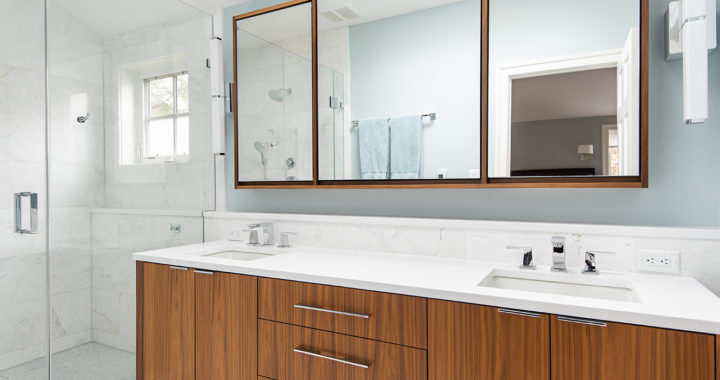 Clean lines and crisp wood vanity