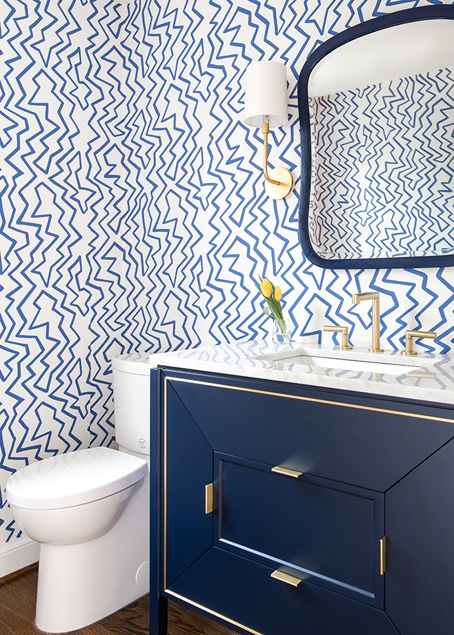 Blue and white defines this Dutch revival bathroom