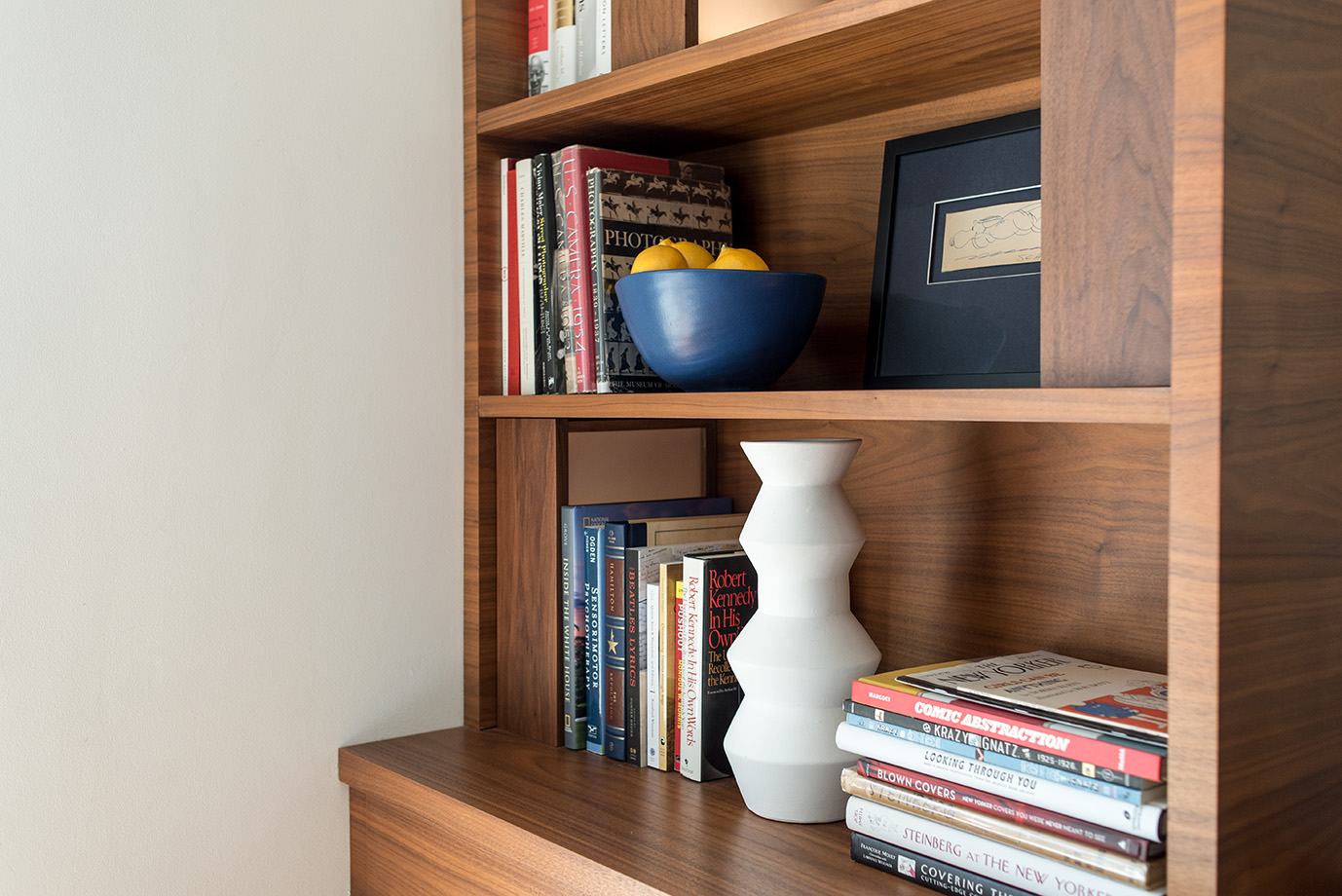 Fine woodworking defines this built-in shelving