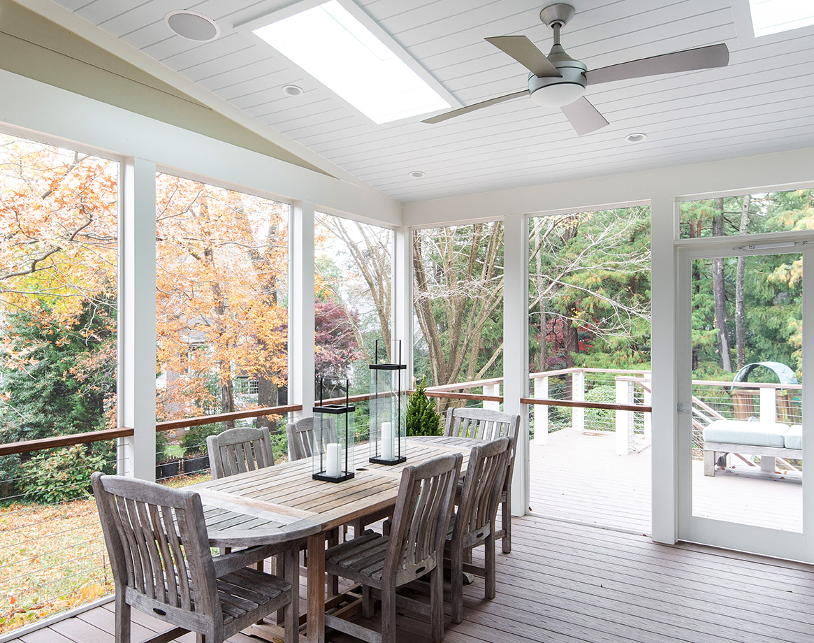 Indoor outdoor dining and entertaining enclosed porch