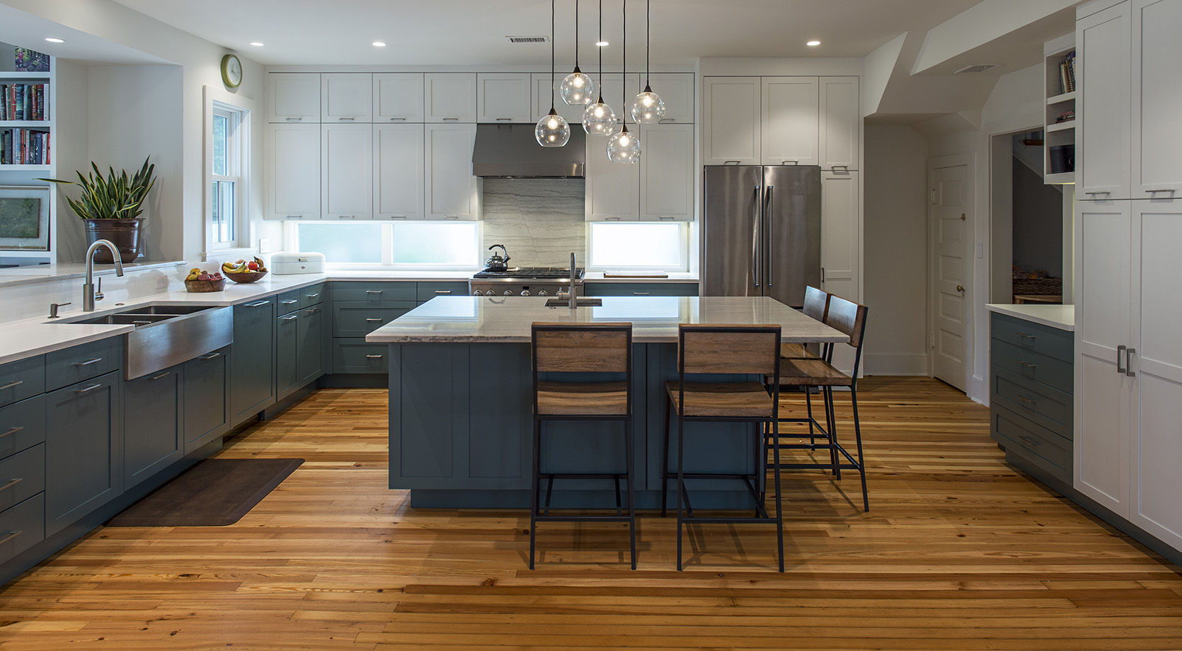 A extra large kitchen island gives plenty of room for cooking and conversation