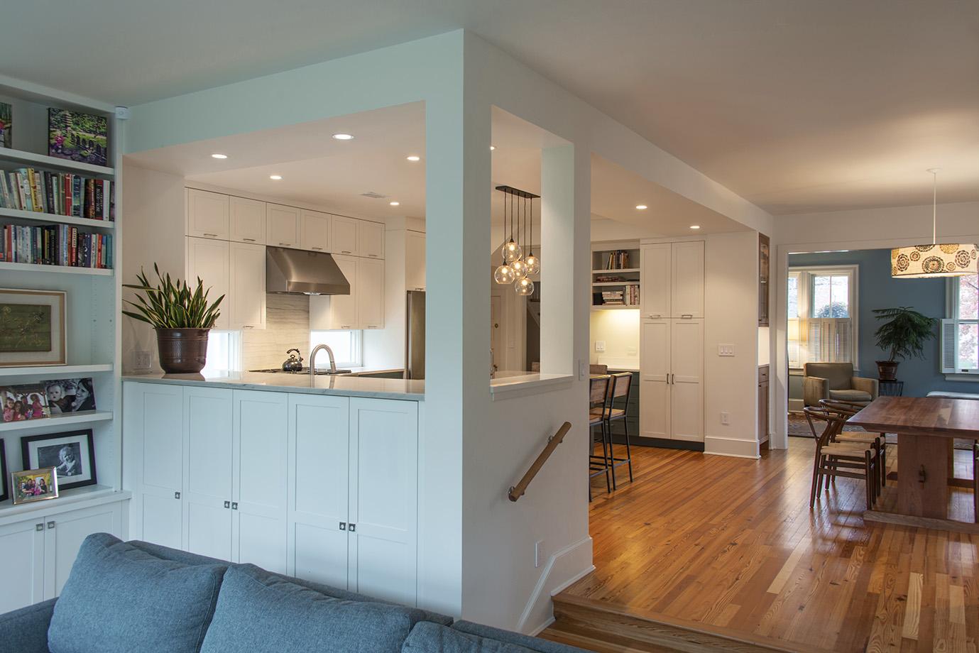 Split level kitchen to living room creates a nice blended separation