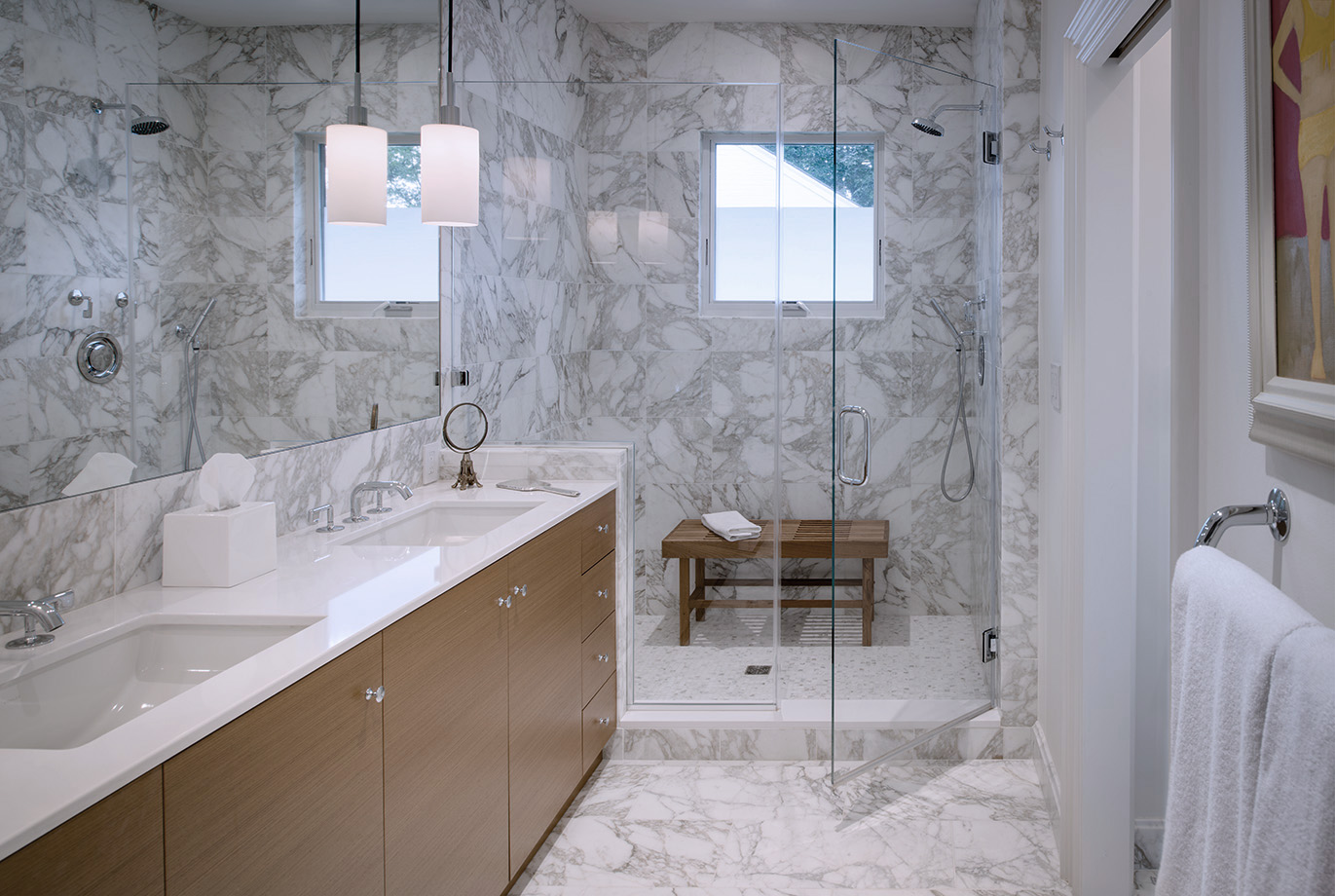 Marble tiled bathroom