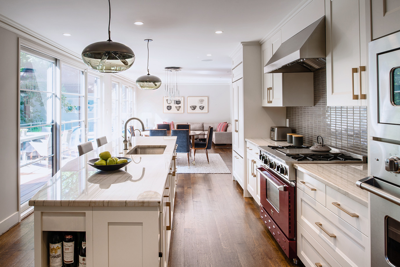 Open floor plan creates a nice flow from kitchen to dining